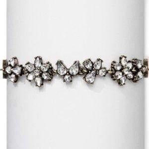 Floral Crystal Choker W/ Adjustable Ribbon Closure